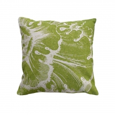 Green Rosette Linen Pillow