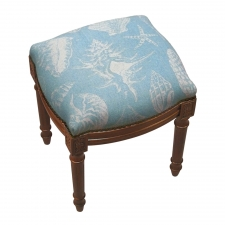 Blue Seashell Linen Stool