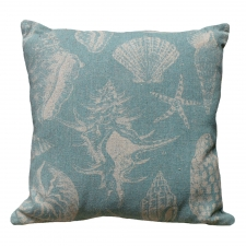 Blue Seashell Linen Pillow