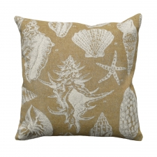 Beige Seashell Linen Pillow