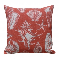 Red Seashell Linen Pillow