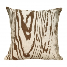 Brown Faux Bois Linen Pillow