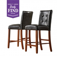 Belen Dark Brown Leather Chairs, Set of 2 - Daily Find made by Home Origin .