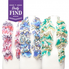 Ruched Print Scarf, Pink - Daily Find by Violet Del Mar