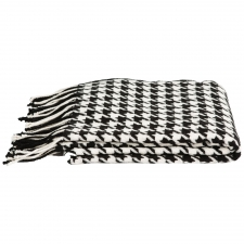 Cashmere & Wool Houndstooth Throw, White