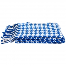 Cashmere & Wool Houndstooth Throw, Cobalt/Crème