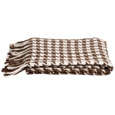 Cashmere & Wool Houndstooth Throw, Capuccino/Crème