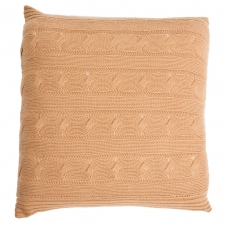 100% Cashmere Cable Knit Pillow, Camel