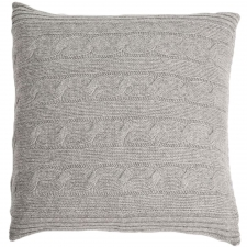100% Cashmere Cable Knit Pillow, Heather Gray