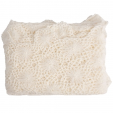 Cashmere & Olefin Hand Crocheted Throw, Crème Fraiche