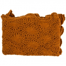 Cashmere & Olefin Hand Crocheted Throw, Spice