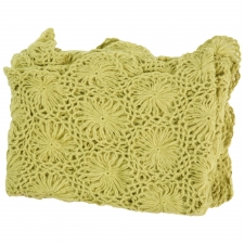 Cashmere & Olefin Hand Crocheted Throw, Green Oasis