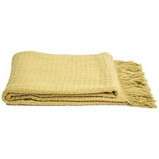 Cashmere & Wool Waffleweave Throw, Celery