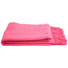 Cashmere & Wool Waffleweave Throw, Honeysuckle