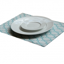 Set of 4 Reversible Logos Placemats, Turquoise