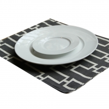 Set of 4 Reversible Belmot Placemats, Ebony