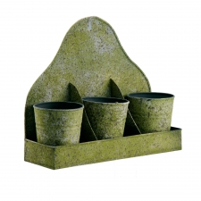 Moss Tray & Zinc Pots, Set of 3