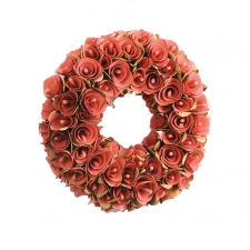 Birch Rosette Wreath, Red, Small