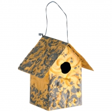 "8"" Iron Birdhouse, Yellow"