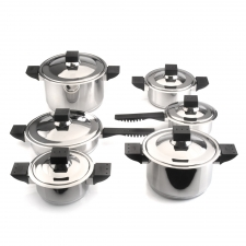 12-Piece Stainless Steel Cookware Set made by bergHOFF Worldwide .