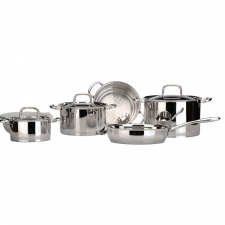 12-Piece Stainless Cookware Set made by bergHOFF Worldwide .