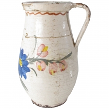 Ceramic Pitcher with Blue Flowers, Large
