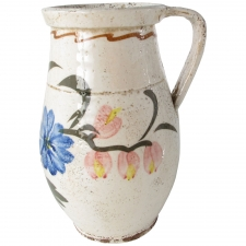 Ceramic Pitcher with Blue Flowers, Medium