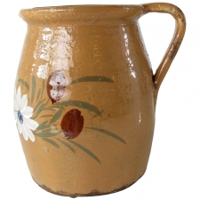 Ceramic Pitcher with White Flowers, Large