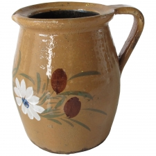 Ceramic Pitcher with White Flowers, Medium