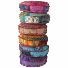Assorted Sari Poufs, Set of 6