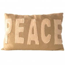 Peace Pillow with Stitched Letters