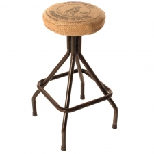 Upholstered Stool with Iron Base