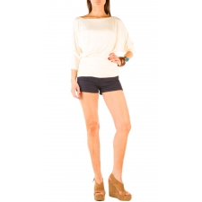 Long Sleeve Boatneck Top - Ivory - S