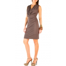 Pleated Cowl Dress - Dk Slate - S
