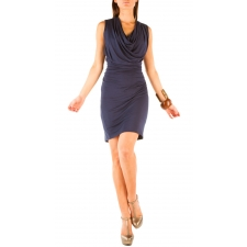Pleated Cowl Dress - Midnight Navy - S