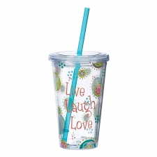 Set of 2 Live Laugh Love Tumblers W/Straw