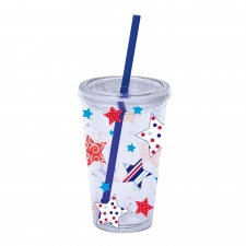 16oz. Patriotic Insulated Tumbler w/ Straw
