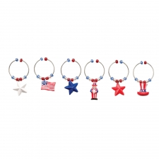 S/6 Patriotic Wine Charms