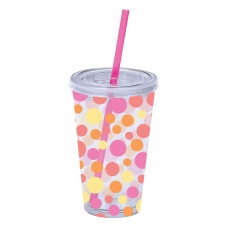 Set of 2 Hot Scatter Dots Tumblers W/Straw