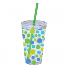 Set of 2 Cool Scatter Dots Tumblers W/Straw