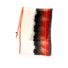 Roberto Cavalli Feather Border Scarf, Red