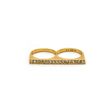 Crystal Line Ring w/Pave - Gold