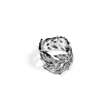 Luxe Pave Feather Ring - Silver - 6