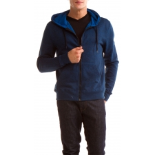 Men's Melange Black Zip Hoodie, Blue/Black, M by Colorfast