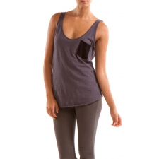 Slub Tank with Exposed Back Zipper, Charcoal Grey, M by Colorfast