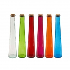 Assorted Tapered Glass Bottles, Set of 6