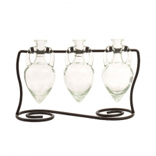Amphora Vases with Metal Stand, Clear
