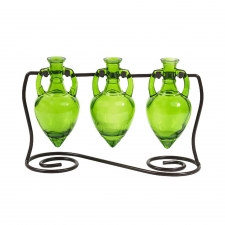 Amphora Vases with Metal Stand, Lime