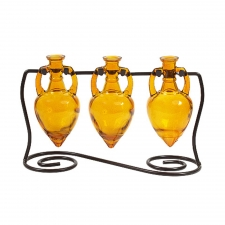 Amphora Vases with Metal Stand, Yellow
