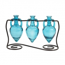 Amphora Vases with Metal Stand, Aqua